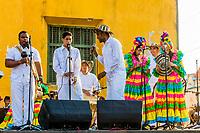 Cartagena , Colombia  - March 9, 2017 : musicians  group playing in Getsemani area of Cartagena de los indias Bolivar in Colombia South America