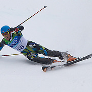 Winter Olympics, Vancouver, 2010.Lars Elton Myhre, Norway, crashes out of the Alpine Skiing, Men's Slalom at Whistler Creekside, Whistler, during the Vancouver Winter Olympics. 27th February 2010. Photo Tim Clayton