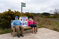 Polwarth, Scottish Borders, Scotland, UK. 16 April 2020. Bus stop in Polwarth has been transformed into a thank you message for the NHS during the coronavirus pandemic.  Iain Masterton/Alamy Live News