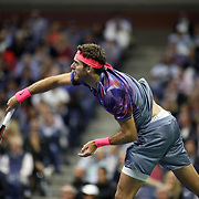 2017 U.S. Open Tennis Tournament - DAY TWELVE. Juan Martin del Potro of Argentina in action against Rafael Nadal of Spain during the Men's Singles Semifinal at the US Open Tennis Tournament at the USTA Billie Jean King National Tennis Center on September 08, 2017 in Flushing, Queens, New York City.  (Photo by Tim Clayton/Corbis via Getty Images)