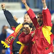 Turkish soccer team Galatasaray between Kocaelispor match after the game Galatasaray Champion in Turkey Players Sebastian PEREZ(L) with Umit KARAN(R) during their IsmetPasa Stadium in Izmit/Turkey.<br /> Photo by Aykut AKICI/TurkSporFoto