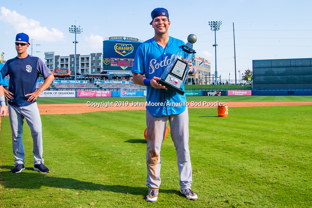 Amarillo Sod Poodles infielder Hudson Potts (10) poses with the trophy after the Sod Poodles won against the Tulsa Drillers during the Texas League Championship on Sunday, Sept. 15, 2019, at OneOK Field in Tulsa, Oklahoma. [Photo by John Moore/Amarillo Sod Poodles]