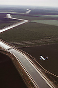 Aerial photograph of California Aqueduct that carries water to southern California from Northern California. Near Coalingua.