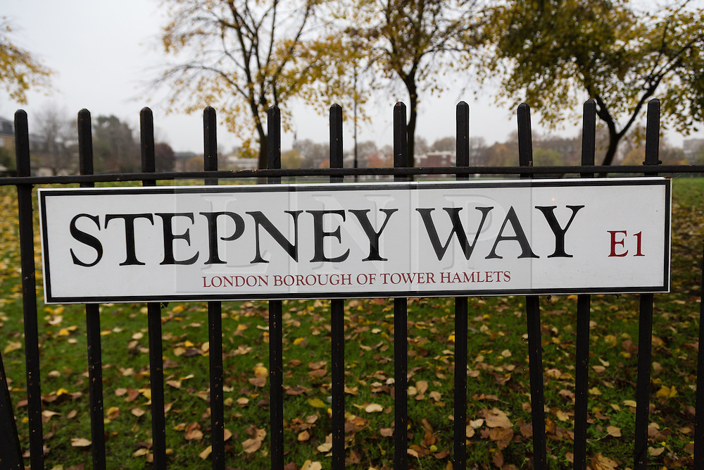 """© Licensed to London News Pictures. 20/11/2014. London, UK. A general view of a Stepney Way road sign near Sir John Cass Foundation and Redcoat Church of England Secondary school, in Stepney, east London. The school is expected to be placed in """"special measures"""" by the education standards watchdog, Ofstead for failing to monitor the activities of an Islamic society set up by sixth-formers at the school and has been criticised for the allowing segregation between boys and girls in the playground. Photo credit : Vickie Flores/LNP"""