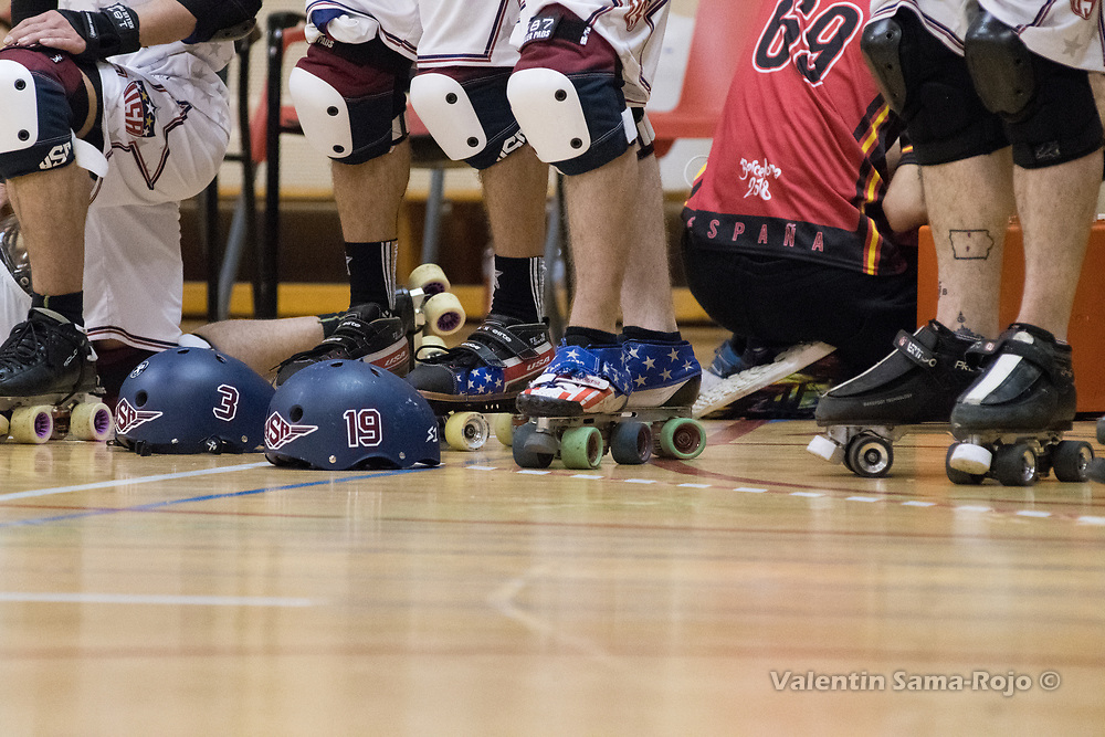 Barcelona, Spain. 08th April, 2018. Detail of the skates decorated with the USA flag color of two players of Team USA at MRDWC2018. © Valentin Sama-Rojo.