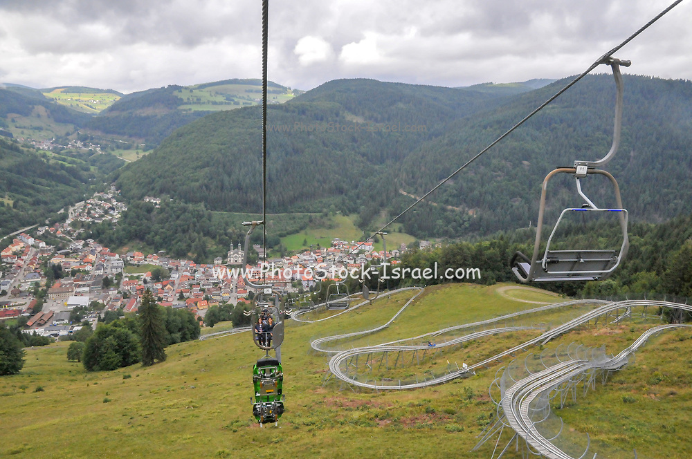 Hasenhorn chair lift. Todtnau, Baden-Württemberg, Germany in the background