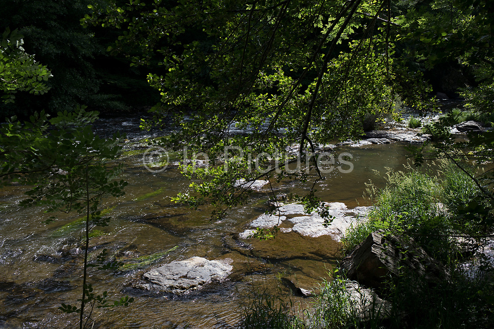 Landscape on the River Aveyron near La Garde Viaur, France. The Aveyron is a 291 km long river in southern France, right tributary of the Tarn River. This is a lush natural area with beautiful views at river level as well as high up in the hills.