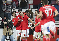 February 7, 2019 - Na - Lisbon, 06/02/2019 - SL Benfica received this evening the Sporting CP in the Stadium of Light, in game the account for the first leg of the Portuguese Cup 2018/19 semi final. Jo√£o Félix celebrates after scoring the 2-0  (Credit Image: © Atlantico Press via ZUMA Wire)