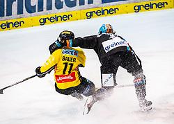 01.11.2019, Keine Sorgen Eisarena, Linz, AUT, EBEL, EHC Liwest Black Wings Linz vs Vienna Capitals, 5. Runde, im Bild v.l. Sascha Bauer (spusu Vienna Capitals), Raphael Wolf (EHC Liwest Black Wings Linz) // during the Erste Bank Eishockey League 5th round match between EHC Liwest Black Wings Linz and Vienna Capitals at the Keine Sorgen Eisarena in Linz, Austria on 2019/11/01. EXPA Pictures © 2019, PhotoCredit: EXPA/ Reinhard Eisenbauer