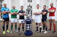 (L to R) Sergio Parisse, the Italy captain, Rory Best, the Ireland captain, Greig Laidlaw, the Scotland captain, Dylan Hartley, the England captain , Guilhem Guirado, the France captain and Alun Wyn Jones, the Wales captain pose with the Six Nations Trophy. RBS Six Nations 2017 media launch at the Hurlingham Club, Ranelagh Gardens in London on Wednesday 25th January 2017.<br /> pic by John Patrick Fletcher, Andrew Orchard sports photography.