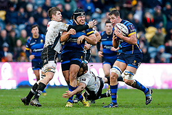 Worcester Prop Gareth Milasinovich offloads to Flanker Huw Taylor as Zebre Hooker Tommaso D'Apice tackles - Mandatory byline: Rogan Thomson/JMP - 16/01/2016 - RUGBY UNION - Sixways Stadium - Worcester, England - Worcester Warriors v Zebre Rugby - European Rugby Challenge Cup.