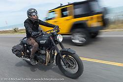 Jason Michaels riding Highway A1A along the coast during Daytona Bike Week 75th Anniversary event. FL, USA. Thursday March 3, 2016.  Photography ©2016 Michael Lichter.