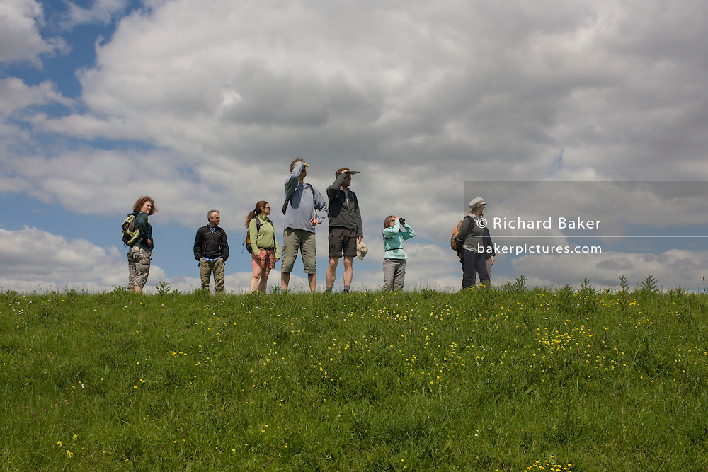 A group of country ramblers walk along the sea defence embankment of Halstow Marshes on the Kent Thames estuary marshes, potentially threatened by the future London airport.
