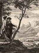 Scene from 'Emile, ou Traite de l'education' by Jean-Jacques Rousseau (Paris, 1762).   In this novel by the French political philosopher and educationlist Rousseau (1712-1778), as an educational experiment the hero, Emile, is raised apart from other children.  Here Emile is with the priest from Savoy who, as the author's mouthpiece, is propounding the Theology of Nature which assumes Man to be naturally good, contradicting the doctrine of Original Sin.