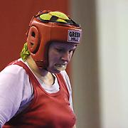 2. WOMEN'S WORLD BOXING CHAMPIONSHIPS.<br /> Denmark's Bettina KARSLEN) between BLR's Slavinskaia Olga . Dilek Sabanci Sport Hall Antalya/Turkey<br /> Photo by Aykut AKICI/TurkSporFoto