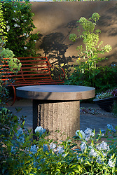 Concrete table with iron bench and Angelica archangelica casting shadows onto the wall. Design: Cleve West, Bupa Garden, Chelsea 2008