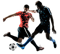 two soccer players men in studio silhouette isolated on white background