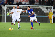 Ashley Williams of Swansea city in action. Barclays Premier league match, Swansea city v Leicester city at the Liberty stadium in Swansea, South Wales on Saturday 25th October 2014<br /> pic by Andrew Orchard, Andrew Orchard sports photography.