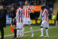 Triple substitution for Stoke City, Peter Crouch, Tyrese Campbell and Male Diouf during the The FA Cup 3rd round match between Shrewsbury Town and Stoke City at Greenhous Meadow, Shrewsbury, England on 5 January 2019.