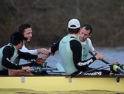 London. GREAT BRITAIN, 2007 Cambridge  University BC trial Eights,  Both crews draw together, after the race, far crew left Sebastian SCHULTE and   foreground [left] Kristopher McDANIEL and Thorsten ENGELMANN after  the Trial Eights, between Putney and Chiswick  08.12.2006. [Photo, Peter Spurrier/Intersport-images]. Varsity:Boat Race, Rowing Course: River Thames, Championship course, Putney to Mortlake 4.25 Miles