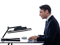 relationship between a caucasian man and a computer display monitor on isolated white background expressing shutdown failure concept