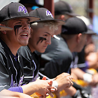 Miyamura Patriot Lorenzo Dunsworth cheers on his teammates from the dugout during the NMAA Baseball State Championship semifinal game against Albuquerque Academy Thursday in Gallup.