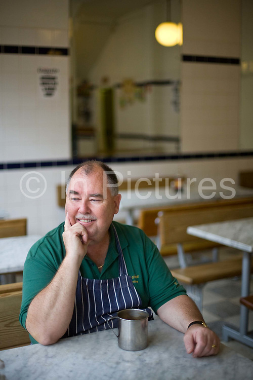 Joe Cook of Cookes' Eel, Pie and mash shop in Hoxton, London, UKEel, pie and mash shops are a traditional but dying business. Changing tastes and the scarcity of the eel has meant that the number of shops selling this traditional working class food has declined to just a handful mostly in east London. The shops were originally owned by one or two families with the earliest recorded, Manze's on Tower Bridge Road being the oldest surviving dating from 1908. Generally eels are sold cold and jellied and the meat pie and mash potato covered in a green sauce called liquor.