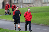 Sam Warburton (l) of Wales and Wales coach Robert Howley ® chat as they arrive for Wales Rugby team training at the Vale Resort, Hensol near Cardiff, South Wales on Wednesday 8th March 2017. The team are preparing for the the RBS Six nations match against Ireland.  pic by  Andrew Orchard, Andrew Orchard sports photography.