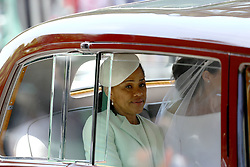 Meghan Markle rides in a car accompanied by her mother, Ms Doria Ragland, along the Long Walk, ahead of her wedding to Prince Harry at St George's Chapel at Windsor Castle.