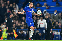 January 24, 2019 - London, England, United Kingdom - Chelsea forward Olivier Giroud questions the decision during the Carabao Cup match between Chelsea and Tottenham Hotspur at Stamford Bridge, London on Thursday 24th January 2019. (Credit Image: © Mark Fletcher/NurPhoto via ZUMA Press)