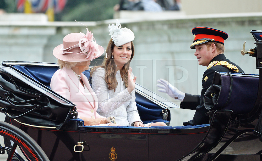 Prince Harry; Camilla Duchess of Cornwall; Catherine Duchess of Cambridge,Trooping the Colour, Buckingham Palace, London UK, 14 June 2014, Photo by Mike Webster