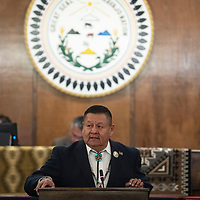 Navajo Nation Council Delegate Jamie Henio, presents his platform for speaker to the Navajo Nation Council, Monday, Jan 28 on the first day of the winter session in Window Rock, Ariz. Henio was one of four nominees for speaker of the Navajo Nation Council.