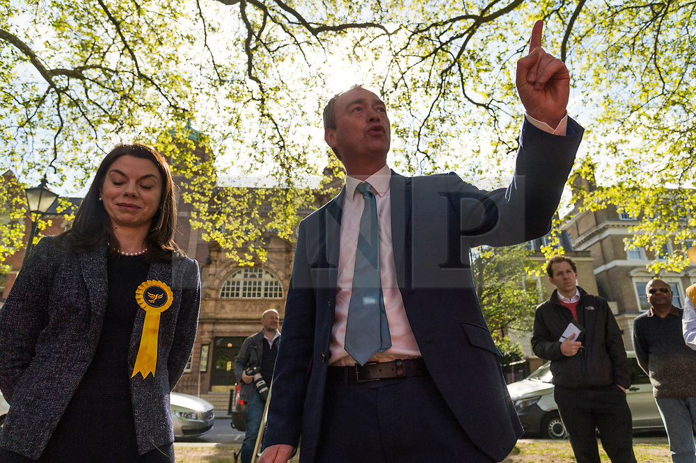 © Licensed to London News Pictures. 19/04/2017. London, UK. Liberal Democrat MP SARAJ OLNEY and Liberal Democrat leader TIM FARROW speak to supporters at a rally in Richmond in response the announcement of the General Election on June 8th 2017. Photo credit: Ray Tang/LNP
