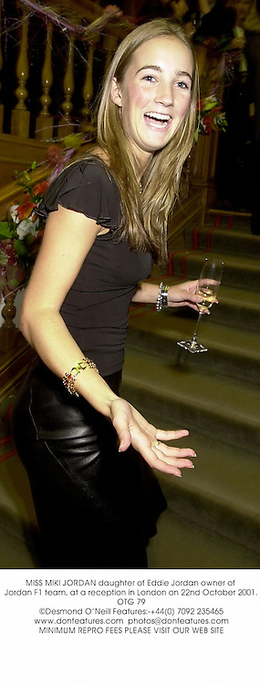 MISS MIKI JORDAN daughter of Eddie Jordan owner of Jordan F1 team, at a reception in London on 22nd October 2001.OTG 79