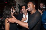 ROSARIO DAWSON; JADE CALLIVA; RAY FEARON, , West End opening of RSC production of Julius Caesar at the Noel Coward Theatre on Saint Martin's Lane. After-party  at Salvador and Amanda, Gt. Newport St. London. 15 August 2012.