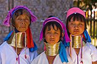 Long necked Padaung tribe women wearing neck rings, Nyaungshwe, Shan State, Myanmar, Burma