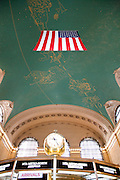 ceiling with American flag, Grand Central Station, New York City, USA