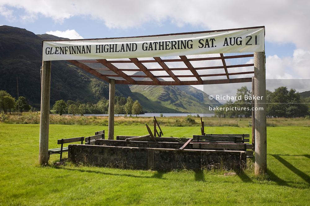 Empty Highland Games field at head of Loch Shiel in Scottish Highlands.