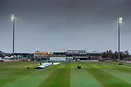 Covers going on as rain falls before the start of Day 2 of the LV= Insurance County Championship match between Leicestershire County Cricket Club and Hampshire County Cricket Club at the Uptonsteel County Ground, Leicester, United Kingdom on 9 April 2021.