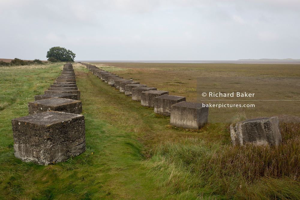 Huge concrete anti-tank cubes form a line of defences along the Northumbrian coast, placed on Britain's northeast coast during fears of German invasion during WW2, on 27th September 2017, near Lindisfarne Island, Northumberland, England.