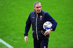 Cheltenham Town manager Michael Duff leads the warm up session- Mandatory by-line: Nizaam Jones/JMP - 24/10/2020 - FOOTBALL - Jonny-Rocks Stadium - Cheltenham, England - Cheltenham Town v Mansfield Town - Sky Bet League Two