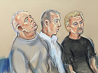 Left to right William Lincoln, Harbinson, HughDoyle<br /> They listen to Other defendant Carl Wood in witness box