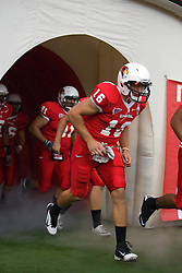 24 September 2011: Adam Rebholz exits the player tunnel during an NCAA football game between the South Dakota State Jackrabbits (SDSU) and the Illinois State Redbirds (ISU) at Hancock Stadium in Normal Illinois.