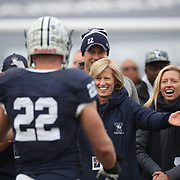 NEW HAVEN, CONNECTICUT - NOVEMBER 18:  Senior Matthew Oplinger #22 of Yale during presentations on the pitch before  the Yale V Harvard, Ivy League Football match at the Yale Bowl. Yale won the game 24-3 to win their first outright league title since 1980. The game was the 134th meeting between Harvard and Yale, a historic rivalry that dates back to 1875. New Haven, Connecticut. 18th November 2017. (Photo by Tim Clayton/Corbis via Getty Images)