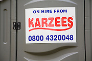 Karzees mobile toilet on hire sign ,UK