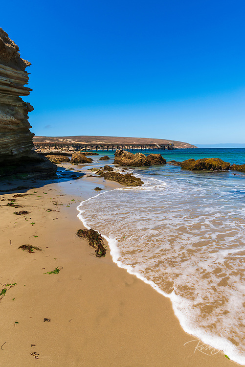 The beach and pier at Beechers Bay, Santa Rosa Island, Channel Islands National Park, California USA