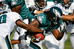 Philadelphia Eagles running back Eldra Buckley #34 carries the ball during the Philadelphia Eagles NFL training camp in Bethlehem, Pennsylvania at Lehigh University on Saturday August 8th 2009. (Photo by Brian Garfinkel)