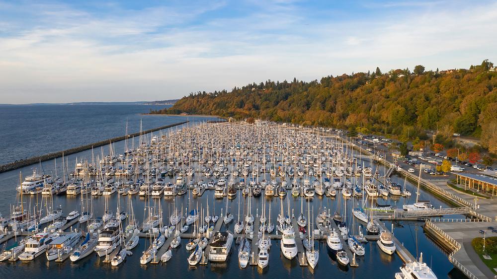 United States, Washington, Seattle.  Boats docked at Shilshole Marina and Elliott Bay (aerial view)