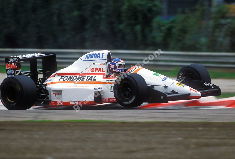 Nicola Larini (Osella-Ford) takes off in the 1989 Italian Grand Prix at Monza. Photo: Grand Prix Photo