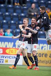 Falkirk's Paul Watson cele scoring their goal. <br /> half time : Falkirk 0 v 0 Morton, Scottish Championship game  played 1/5/2016 at The Falkirk Stadium.
